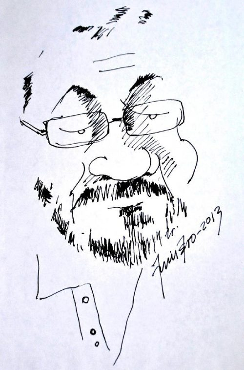 Luis Mizar, caricaturizado en el trazo de su amigo Efraín, 'El Mono' Quintero.