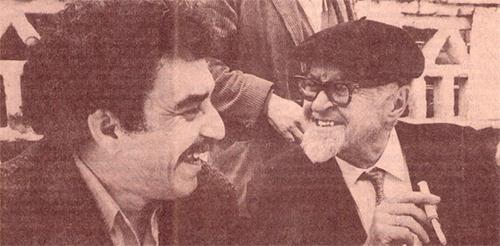 León de Greiff y Gabriel García Márquez, foto de Nereo López. Foto: Biblioteca Luis Ángel Arango