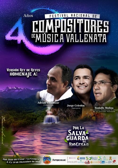Afiche promocional 40º Festival Nacional de Compositores de Música Vallenata
