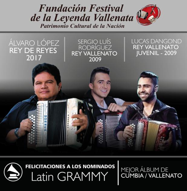 Reyes Vallenatos nominados al Grammy Latino