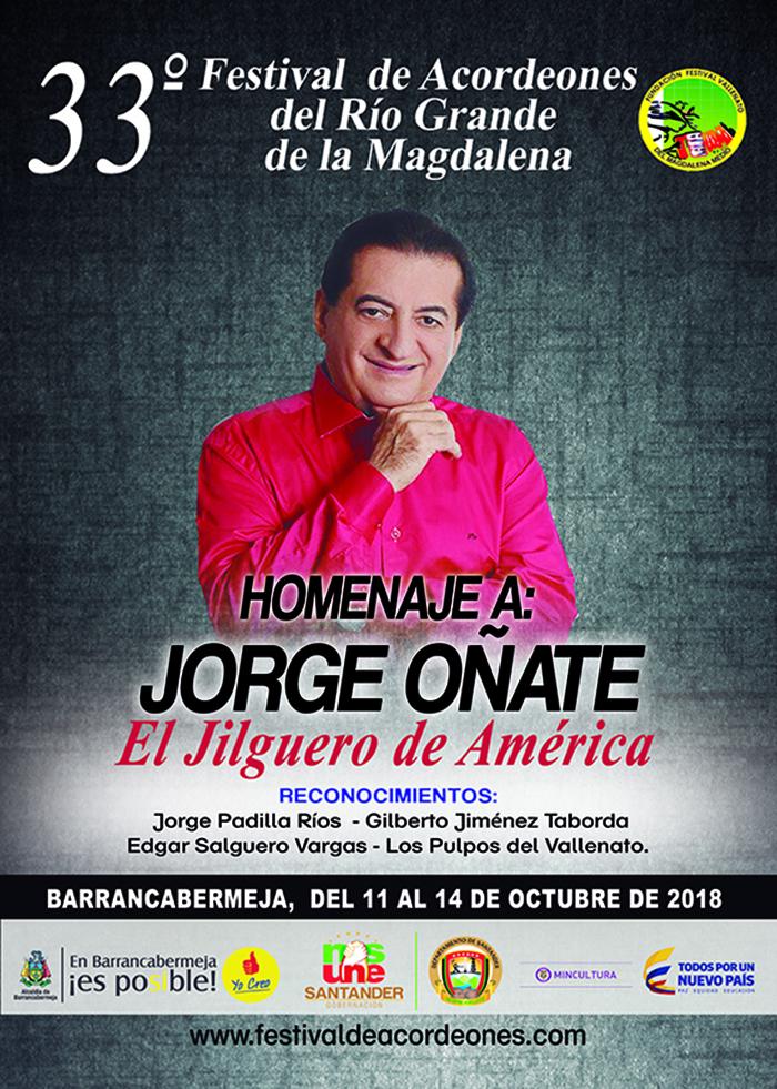 Afiche promocional 33 Festival de Acordeones de Barrancabermeja en homenaje a Jorge Oñate (1)