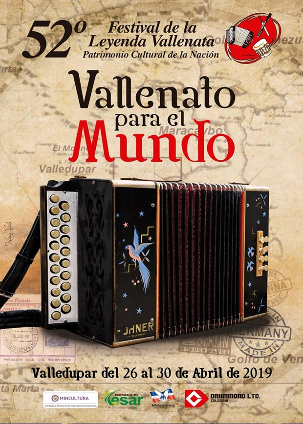 Afiche Promocional 52 Festival de la Leyenda Vallenata. Diseñadora, Geannina Torres Viloria