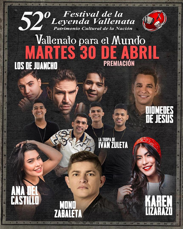 Parrilla de artistas 30 de abril Parque de la Leyenda Vallenata Consuelo Araujonoguera